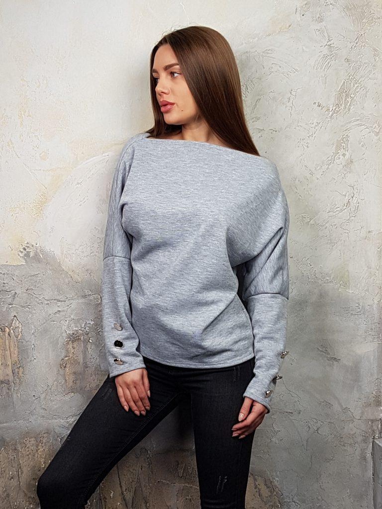 Дамска блуза с копчета на ръкавите WLS 2827 - 17