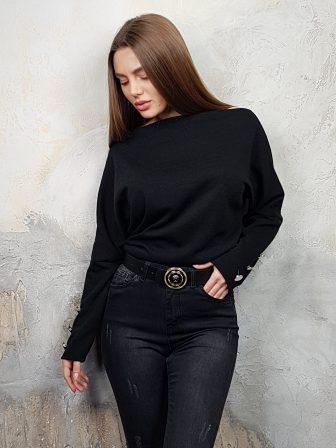 Дамска блуза с копчета на ръкавите WLS 2827 - 12