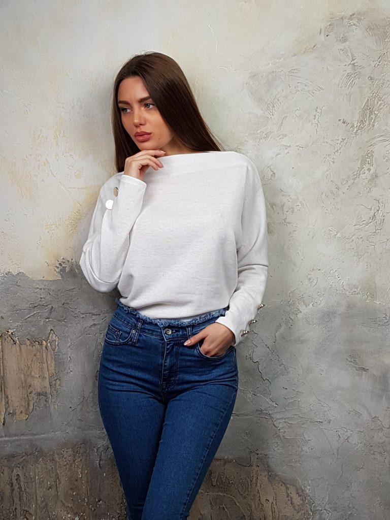 Дамска блуза с копчета на ръкавите WLS 2827 - 0