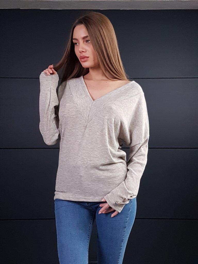 Дамска блуза с копчета на ръкавите WLS 3199 - 16