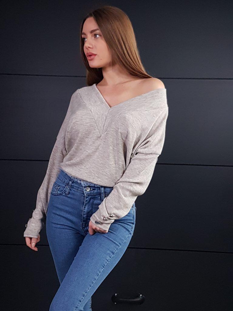 Дамска блуза с копчета на ръкавите WLS 3199 - 14