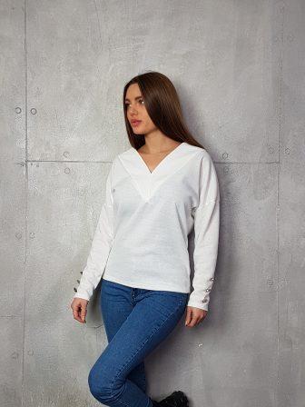 Дамска блуза с копчета на ръкавите WLS 3199 - 13