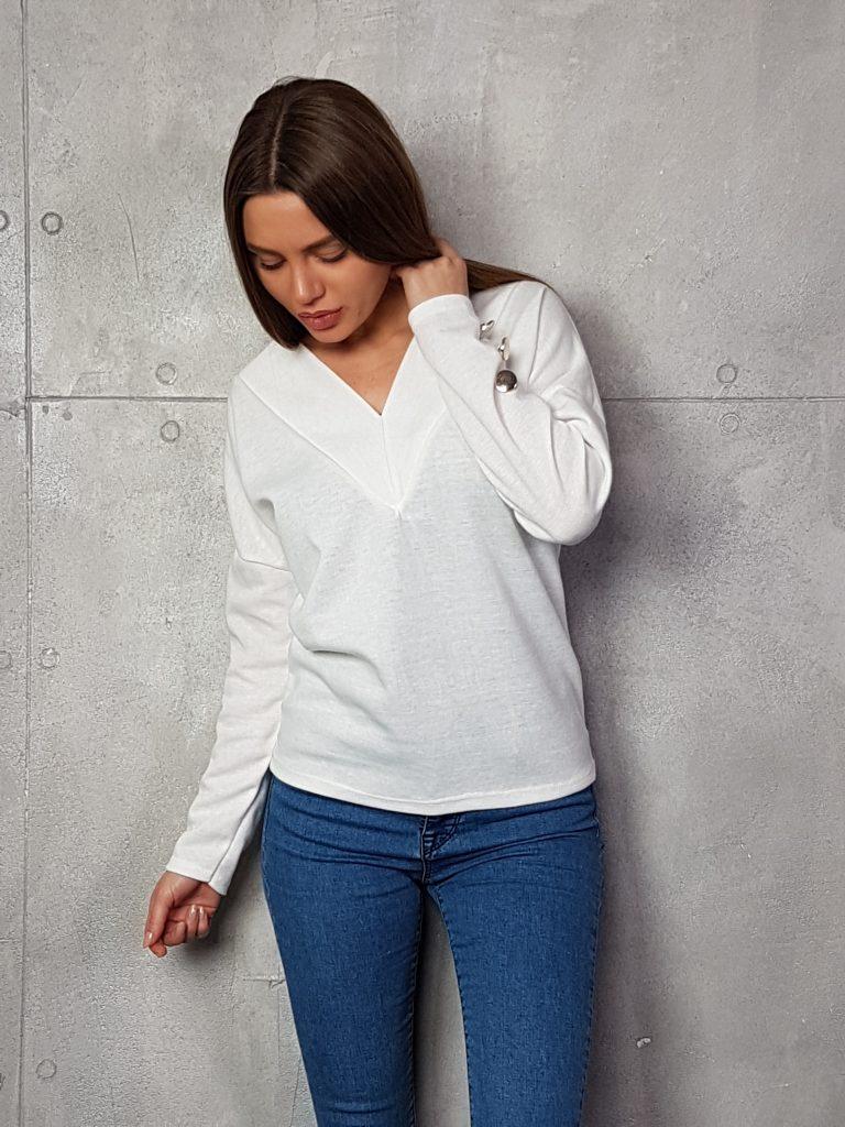 Дамска блуза с копчета на ръкавите WLS 3199 - 12
