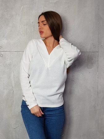 Дамска блуза с копчета на ръкавите WLS 3199 - 11