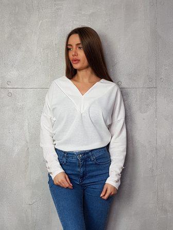 Дамска блуза с копчета на ръкавите WLS 3199 - 9