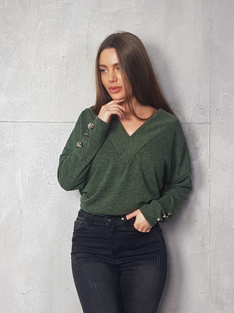 Дамска блуза с копчета на ръкавите WLS 3199 - 6