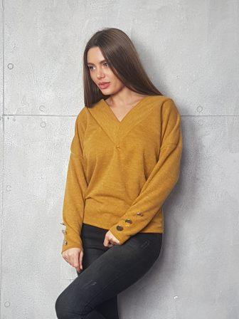 Дамска блуза с копчета на ръкавите WLS 3199 - 5