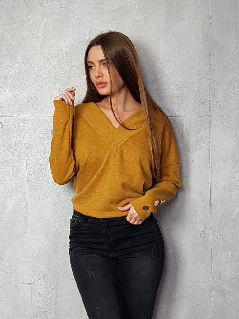 Дамска блуза с копчета на ръкавите WLS 3199 - 3