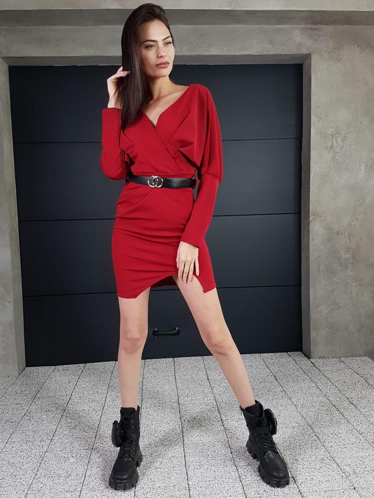 Дамска рокля с копчета на ръкавите WLS 3173 - 3