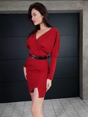 Дамска рокля с копчета на ръкавите WLS 3173 - 4