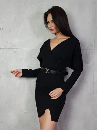 Дамска рокля с копчета на ръкавите WLS 3173 - 11