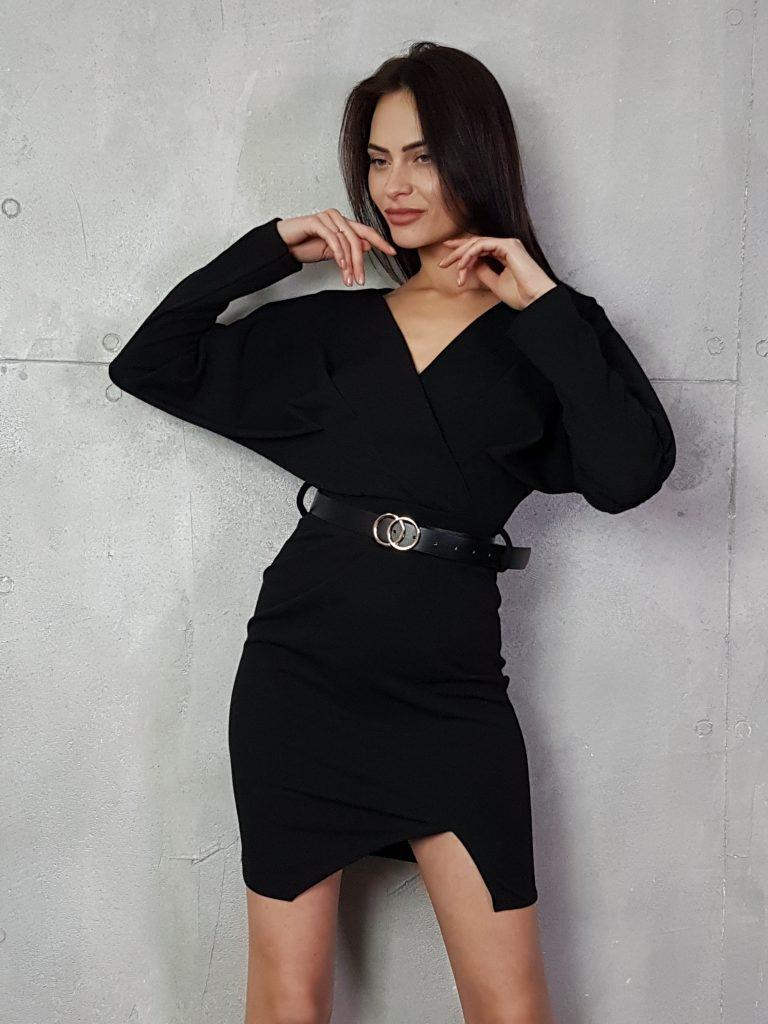 Дамска рокля с копчета на ръкавите WLS 3173