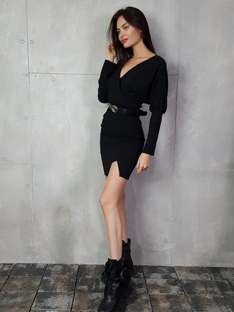 Дамска рокля с копчета на ръкавите WLS 3173 - 14