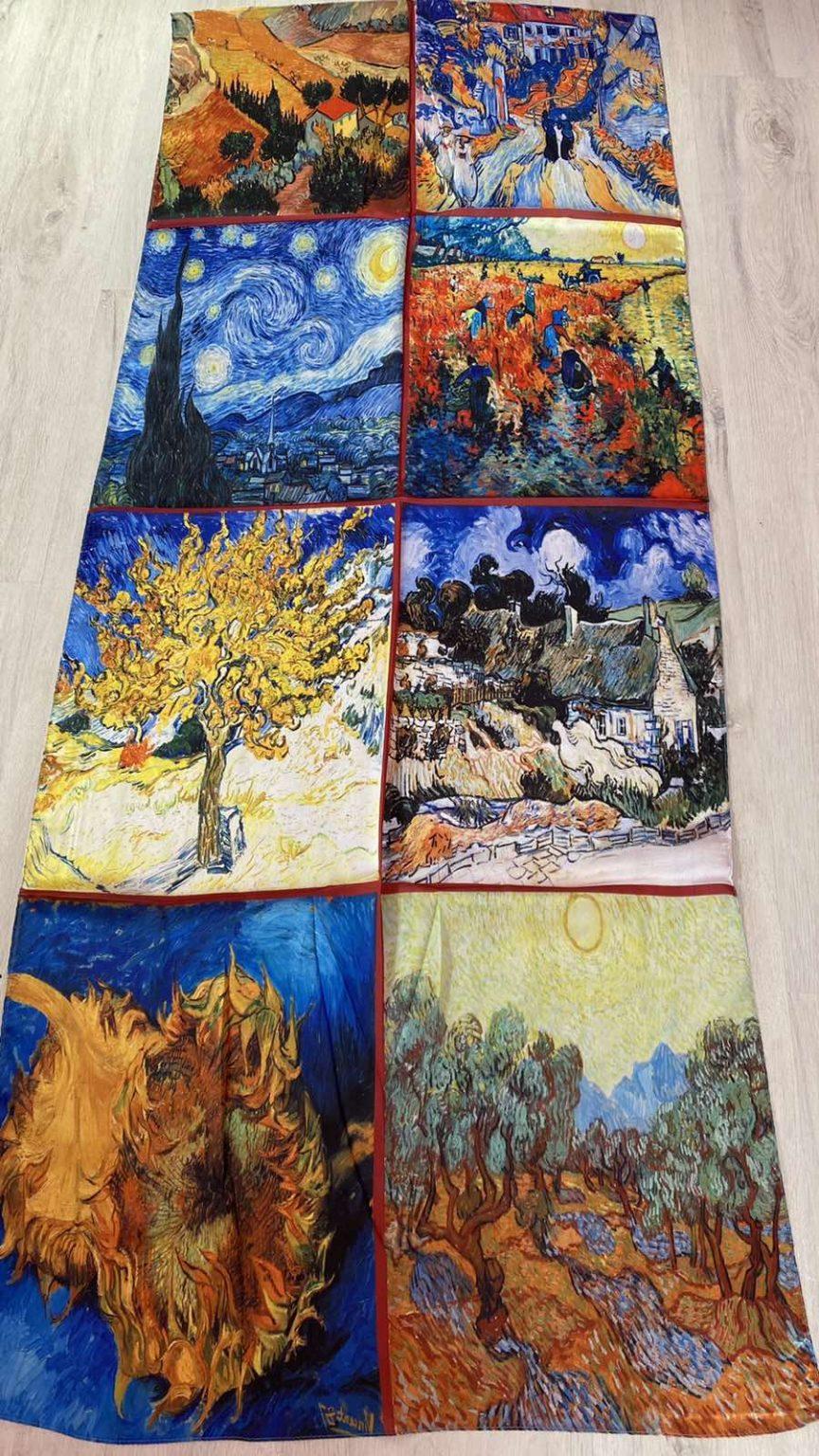 Копринен шал Multiple paintings 502