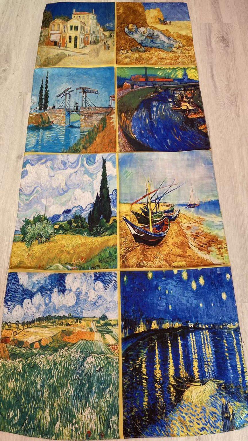 Копринен шал Multiple paintings 505