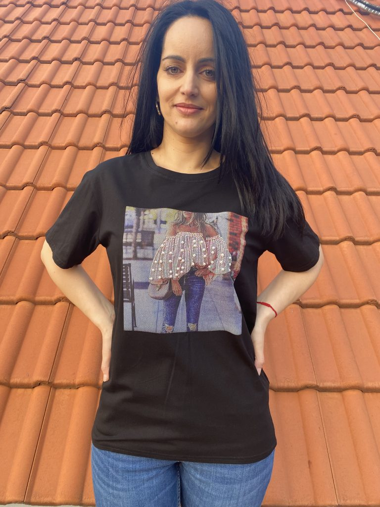 Тениска с щампа Bare shoulders Amo & Roma 92314 - 0