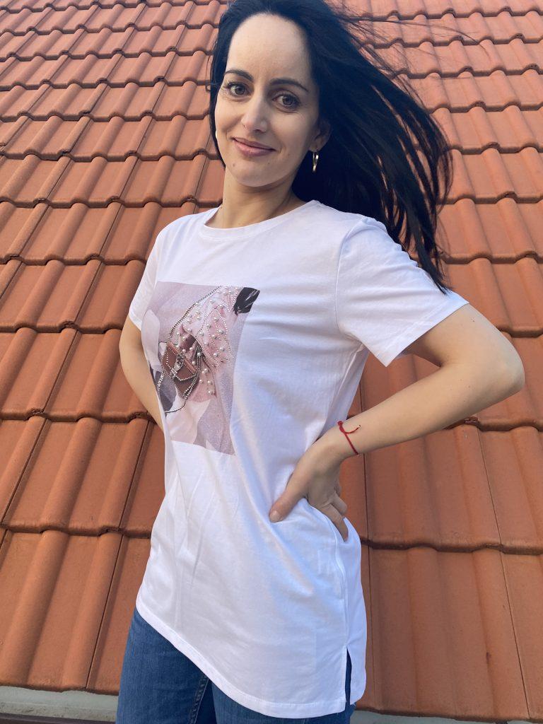 Тениска с перли и камъни Amo & Roma 92390 - 1