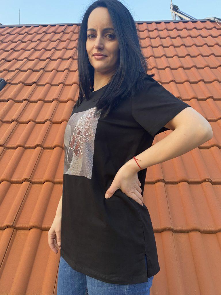 Тениска с перли и камъни Amo & Roma 92390