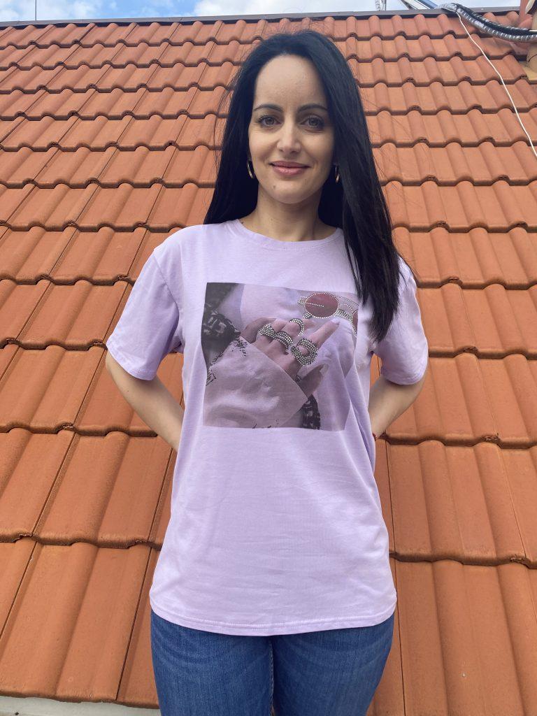 Тениска с щампа и камъни Glasses Amo & Roma 92409 - 0