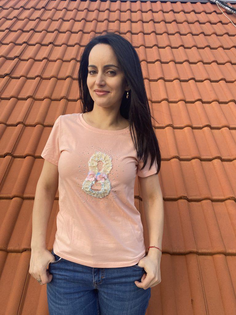 Тениска с камъни и перли Mei Gao 6027