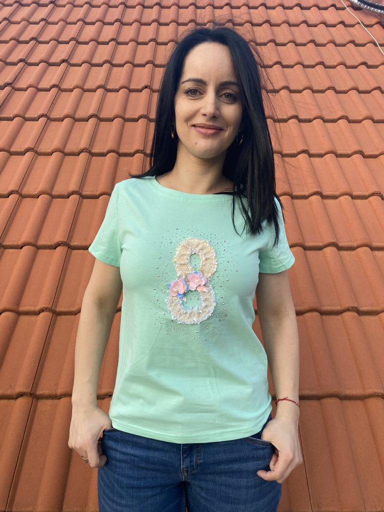 Тениска с камъни и перли Mei Gao 6027 - 0