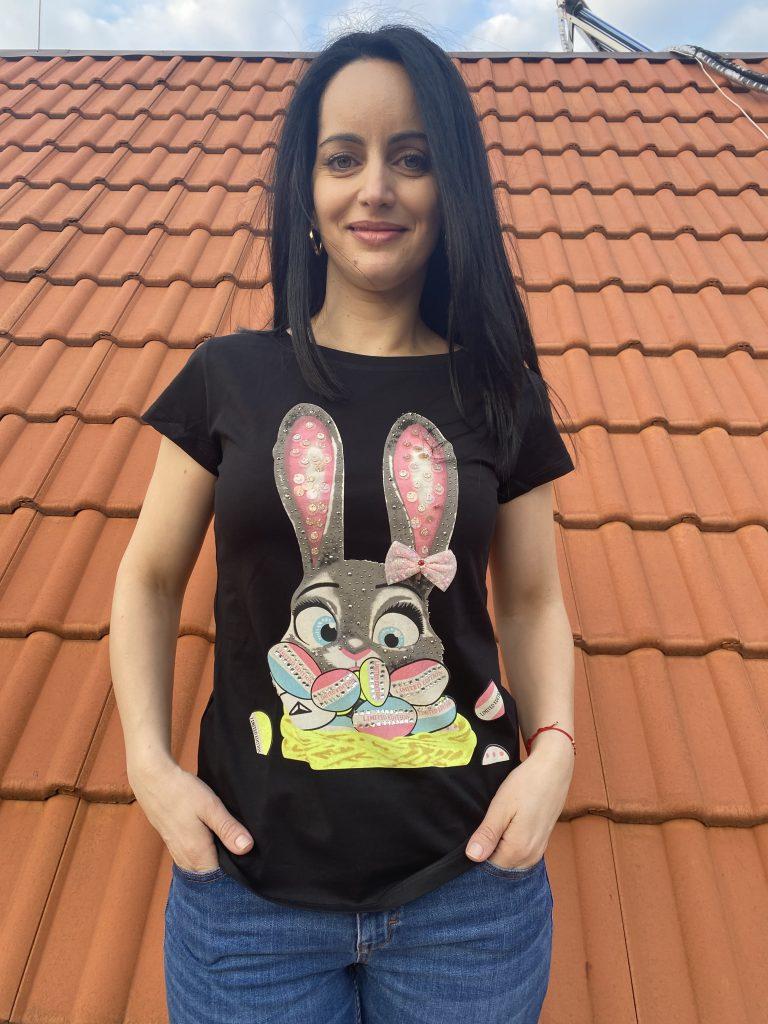 Тениска с камъни и пайети Miss Kiss 30012 - 0