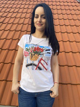 Тениска с интересна щампа с камъни Miss Kiss 30018