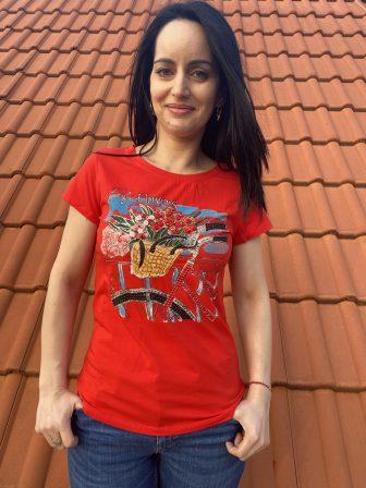 Тениска с интересна щампа с камъни Miss Kiss 30018 - 0