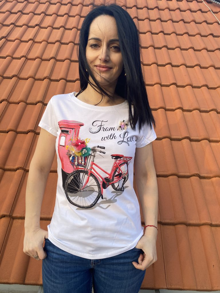 Тениска с тюл и перли Miss Kiss 30025