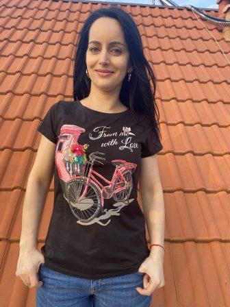 Тениска с тюл и перли Miss Kiss 30025 - 0