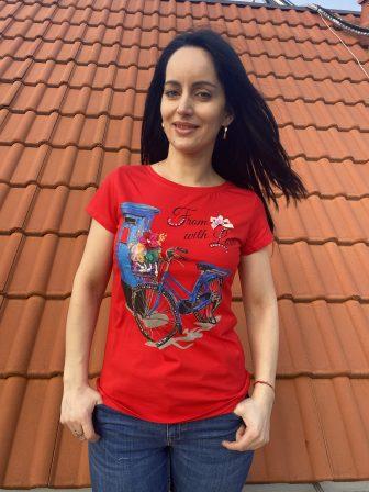 Тениска с тюл и перли Miss Kiss 30025 - 1