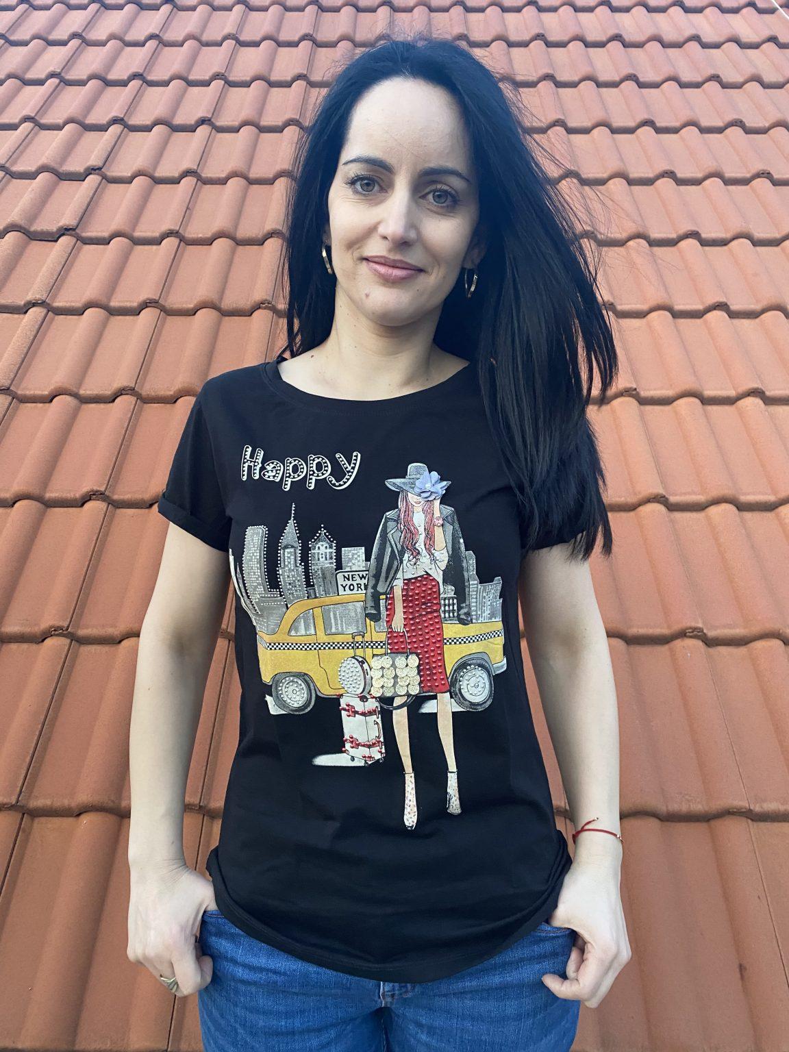 Тениска с щампа с камъчета Miss Kiss 30039