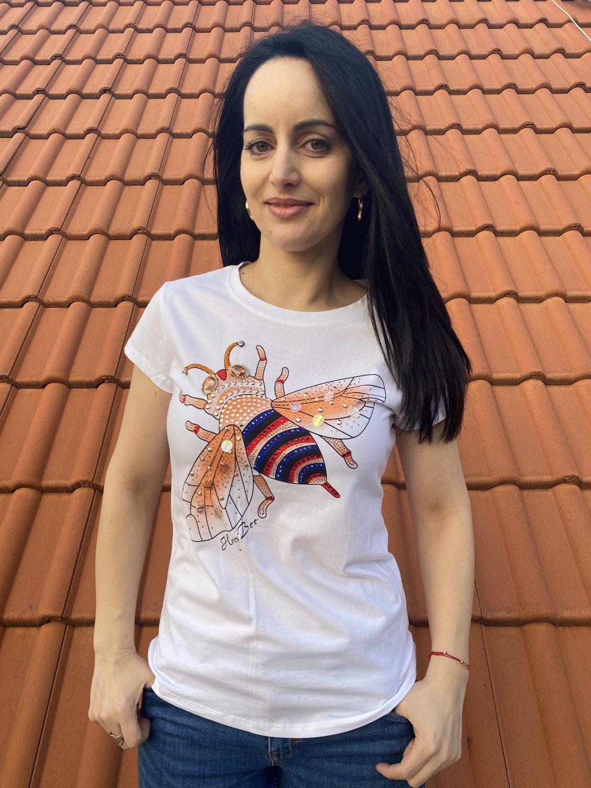 Тениска пчеличка с пайети и камъни Miss Kiss 30366