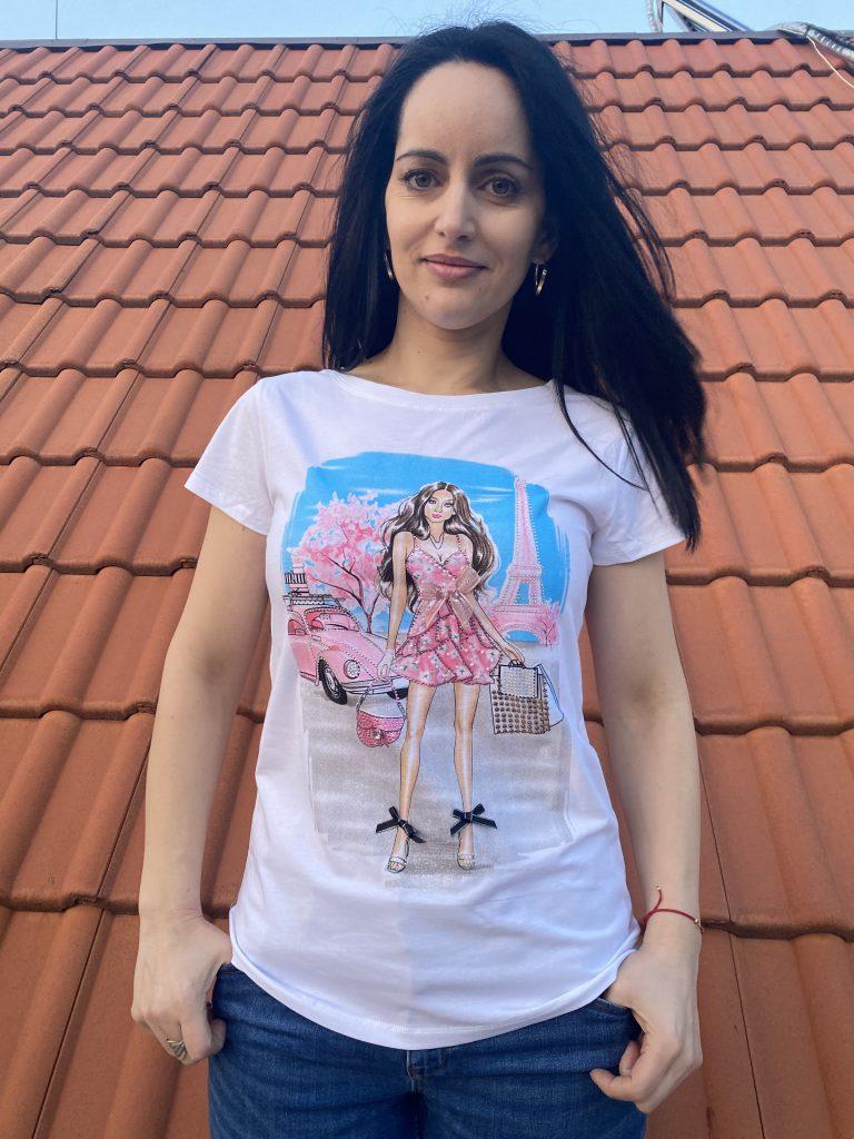 Тениска Eiffel Tower с камъни и перли Miss Kiss 30660