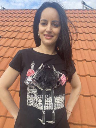 3D Тениска с дантела и пайети Miss Kiss 32001