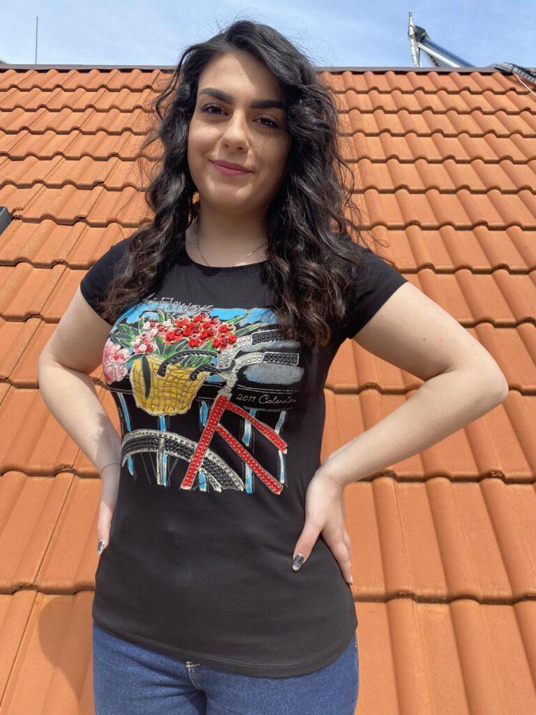 Тениска с интересна щампа с камъни Miss Kiss 30018 - 1