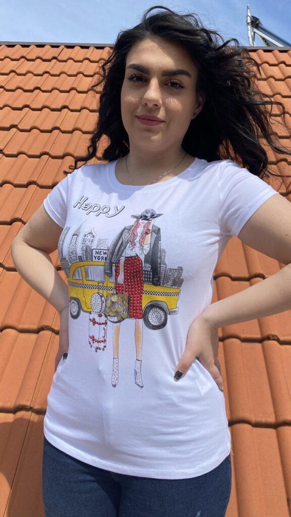 Тениска с щампа с камъчета Miss Kiss 30039 - 0