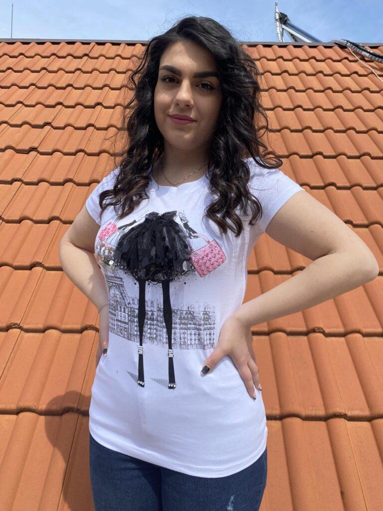 3D Тениска с дантела и пайети Miss Kiss 32001 - 1
