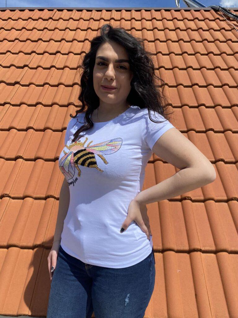 Тениска пчеличка с пайети и камъни Miss Kiss 30366 - 1