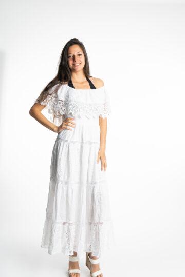 Дълга бяла рокля с волан на деколтето Siya 10285 - 0