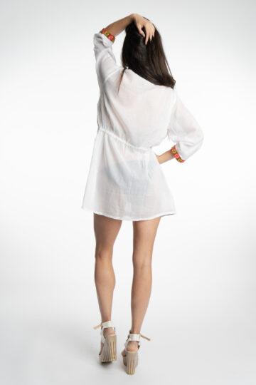 Бяла плажна памучна туника с бродерии 2032 - 2