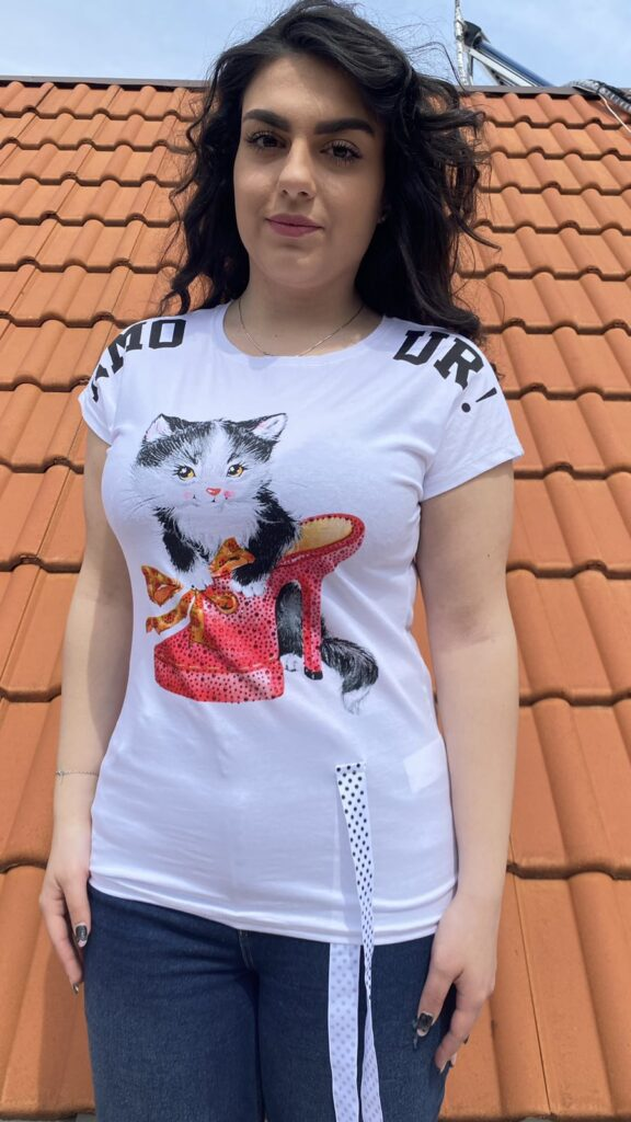 Тениска Cat in high heel shoe Elisa 2222
