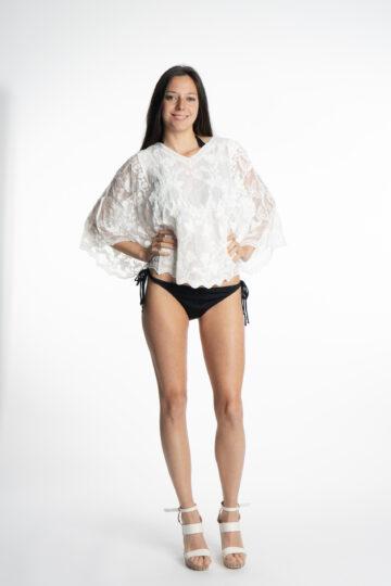 Дамска къса бяла блуза S&CHARM T15 - 0