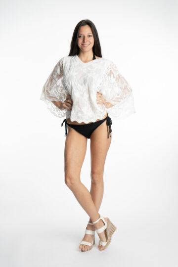 Дамска къса бяла блуза S&CHARM T15