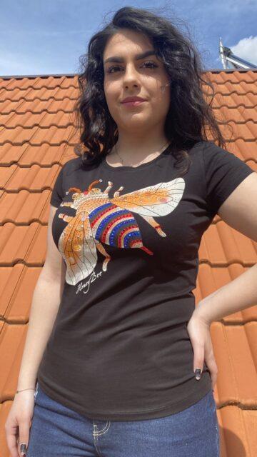 Тениска пчеличка с пайети и камъни Miss Kiss 30366 - 0