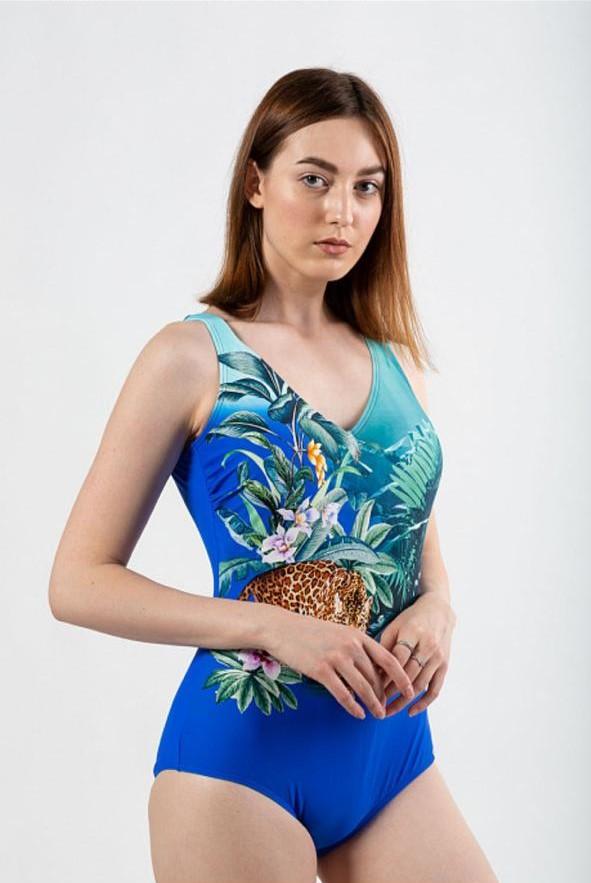 Дамски цял бански с флорални мотиви 20614