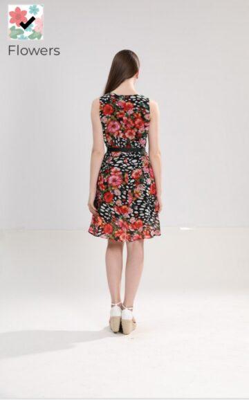 Феерична рокля от шифон с флорални мотиви L101358 - 0