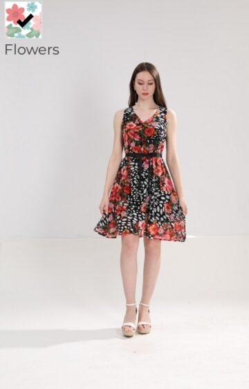 Феерична рокля от шифон с флорални мотиви L101358 - 1