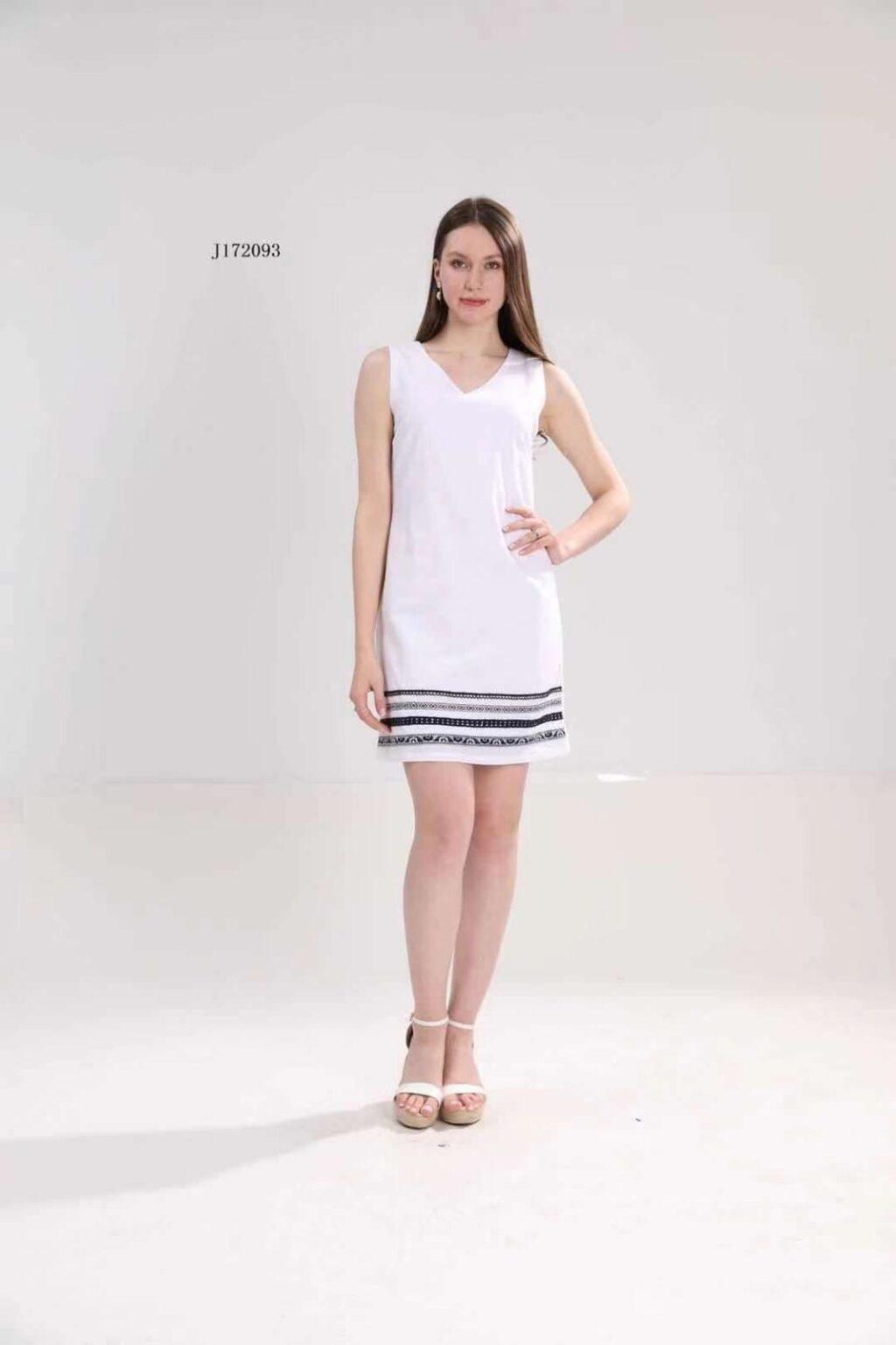 Ленена бяла рокля, с дължина над коляното J172093